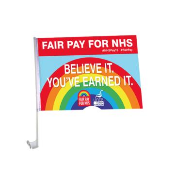 UNITE IN HEALTH #NHSPAY15 Car Flag