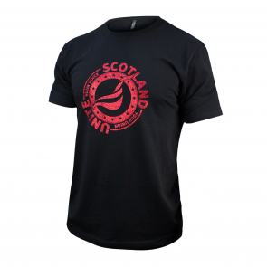 Unisex Red Glitter SCOTLAND T-shirt Black