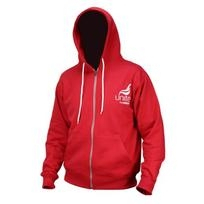 Unisex Red zip up hoodie, printed logo.